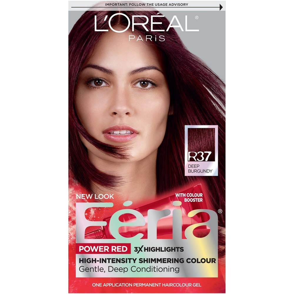 L'Oreal Paris Feria Power Reds High-Intensity Shimmering Colour, Blowout Burgundy [R37] (Warmer) 1 ea (Pack of 4) by L'Oreal Paris