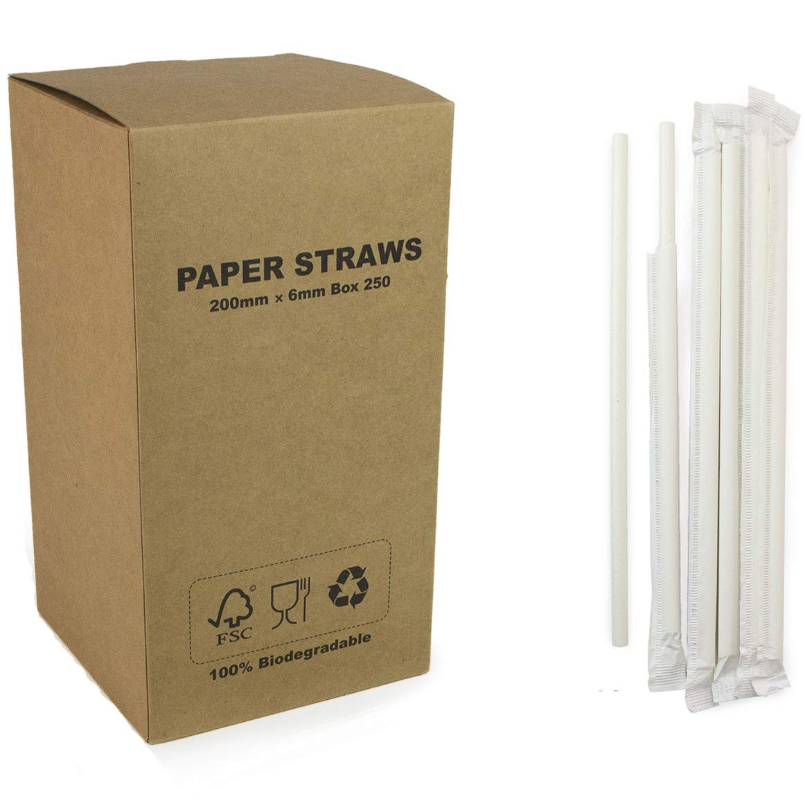 250 pcs Individually Paper Wrapped Plain White Paper Straws Bulk, Pure All Solid White Paper Drinking Straws for Wedding 1st Birthday Party, Beverage Soda Coffee Restaurant, Cake Pop Sticks