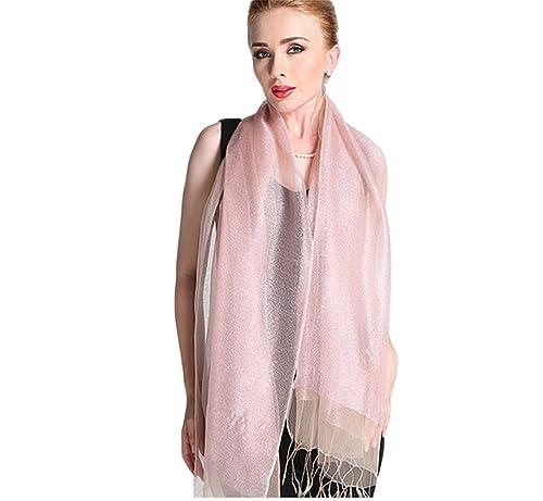 Donna Brillante Colore Solido 50% seta 50% Lurex Partito Stole Scialli Sciarpe Wrap Con Frange(Rosa)