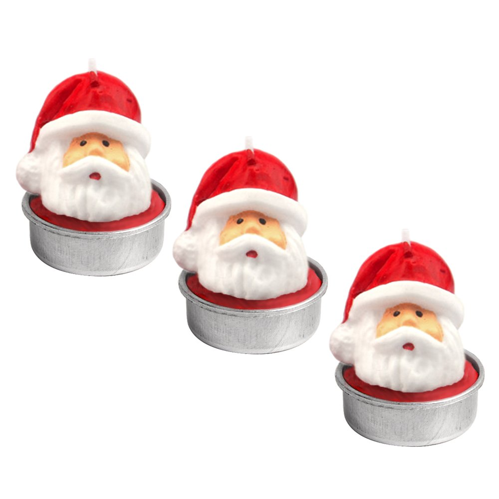 3PCS Santa Claus Head Handmade Delicate Decoration Smokeless Candles Tealight for Merry Christmas Xmas Party Home Decor