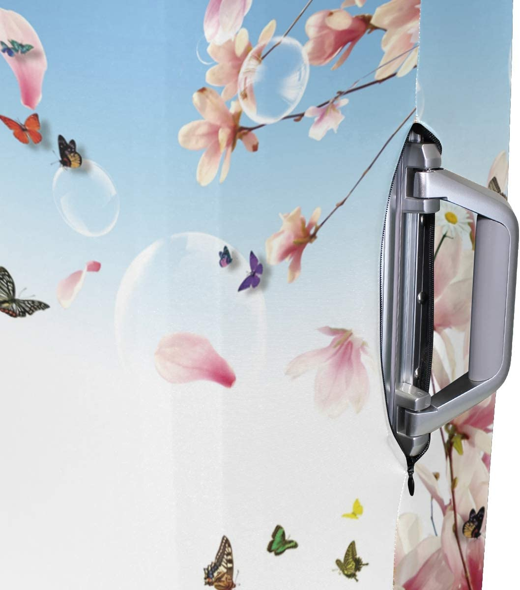 FOLPPLY Spring Blossom Butterfly Luggage Cover Baggage Suitcase Travel Protector Fit for 18-32 Inch