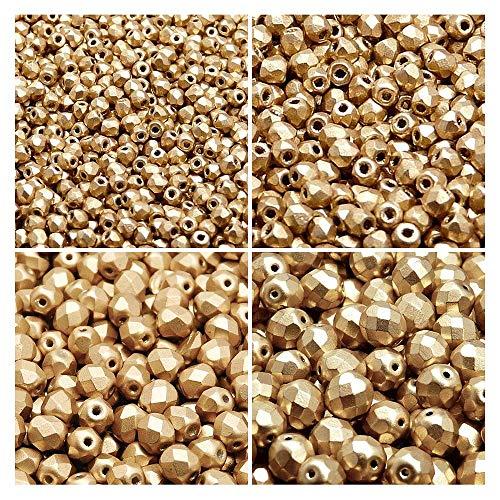 Czech Fire-Polished Glass Beads Round 3mm, 4mm, 6mm, 8mm, Aztec Gold. Set 1CFP 008 (3FP007-4FP085-6FP077-8FP019)