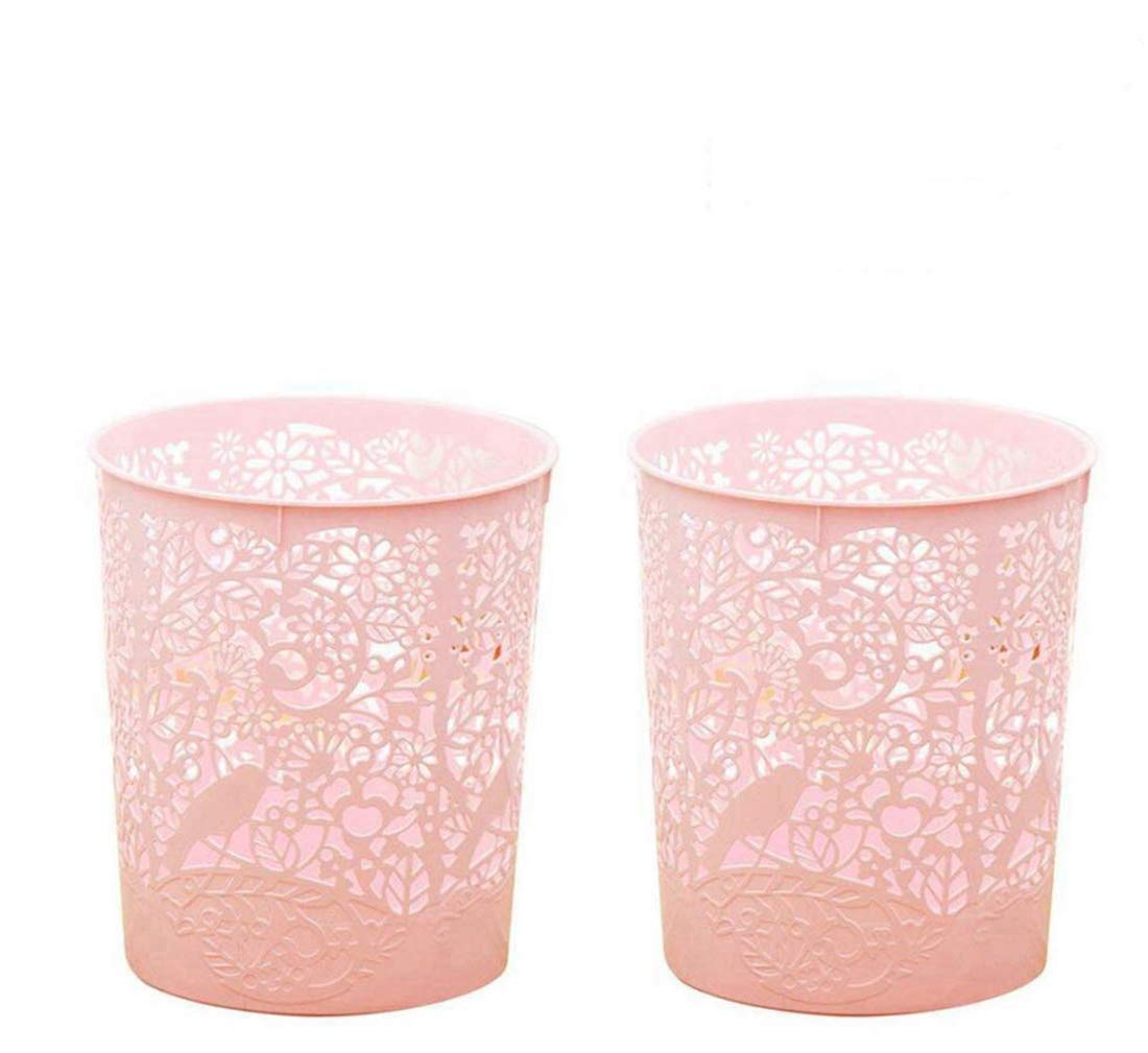 Waste Bins, XSHION 2 Pack Creative Hollowed-out Trash Can Waste Paper Baskets Office Garbage Bins (Light Pink)