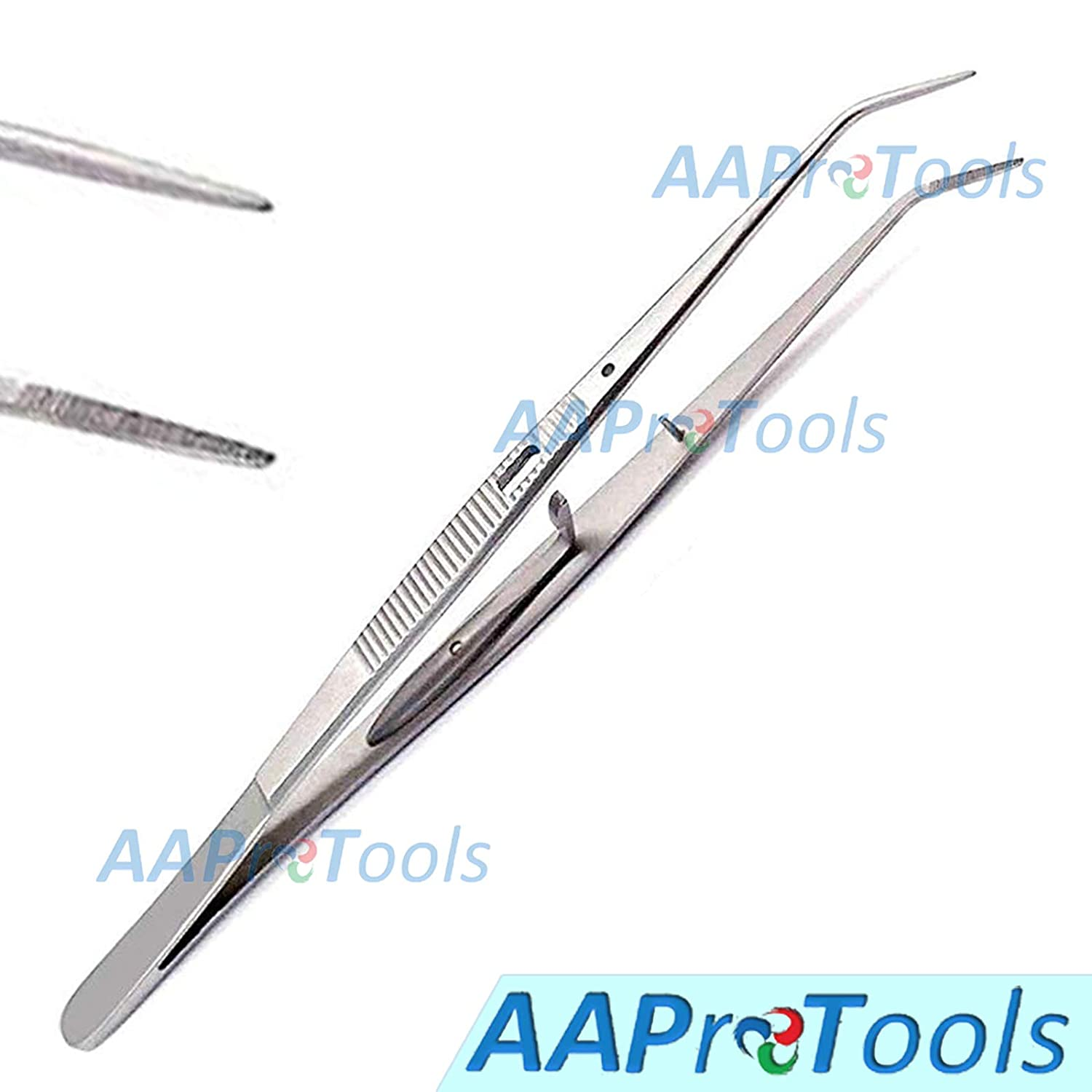 1-5//8 Tip Length 6 Length AAProTools Curved Serrated Tweezers with Lock Stainless Steel