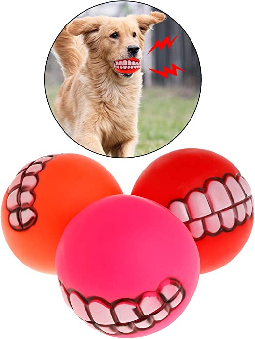 ecmqs juguete para perro – de pelota de goma grinçant los dientes ...