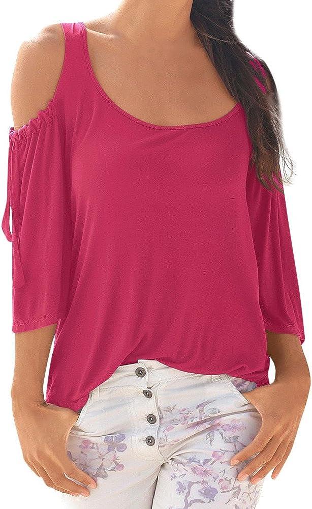 YEBIRAL Camisetas Mujer,Casual Hombro Frío Color Sólido ...