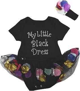 Petitebella My Black Dress Black Bodysuit Petals Flowers Baby Dress Nb-18m