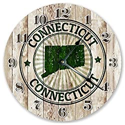 10.5 CONNECTICUT STATE RUBBER STAMP CLOCK - Large 10.5 Wall Clock - Handmade Home Décor Clock