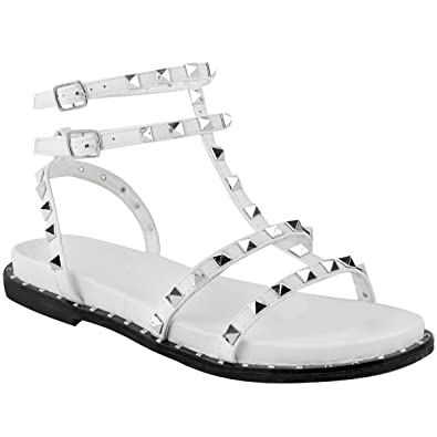 0487e4b663b8f Fashion Thirsty Heelberry® Womens Ladies Flat Studded Sandals Summer  Strappy Embellished Rock Shoes Size UK  Amazon.co.uk  Shoes   Bags