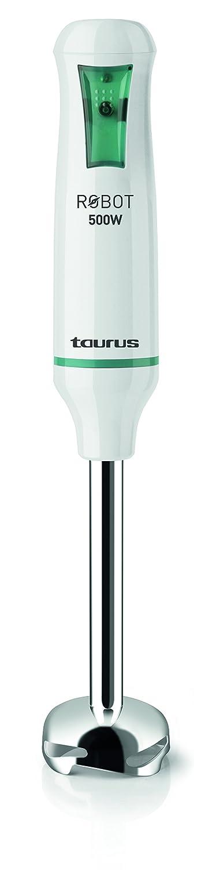 Taurus 916.342 Robot INOX-Batidora de Vaso (500 W, Cuchillas en Acero Inoxidable, Sistema antisalpicaduras), Blanco y Verde: Taurus: Amazon.es: Hogar