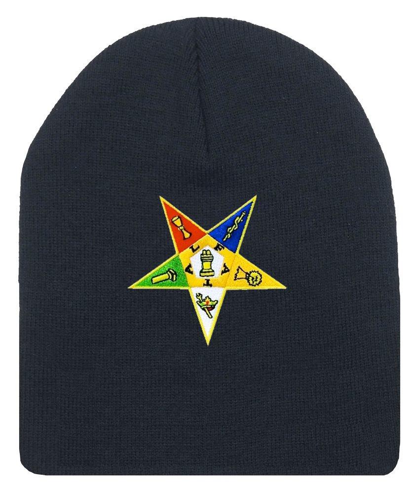 Order of the Eastern Star – ブラックビーニーキャップwithカラフル標準OESシンボル – 帽子大人フリーサイズ。Masonic商品。   B01MD210OF