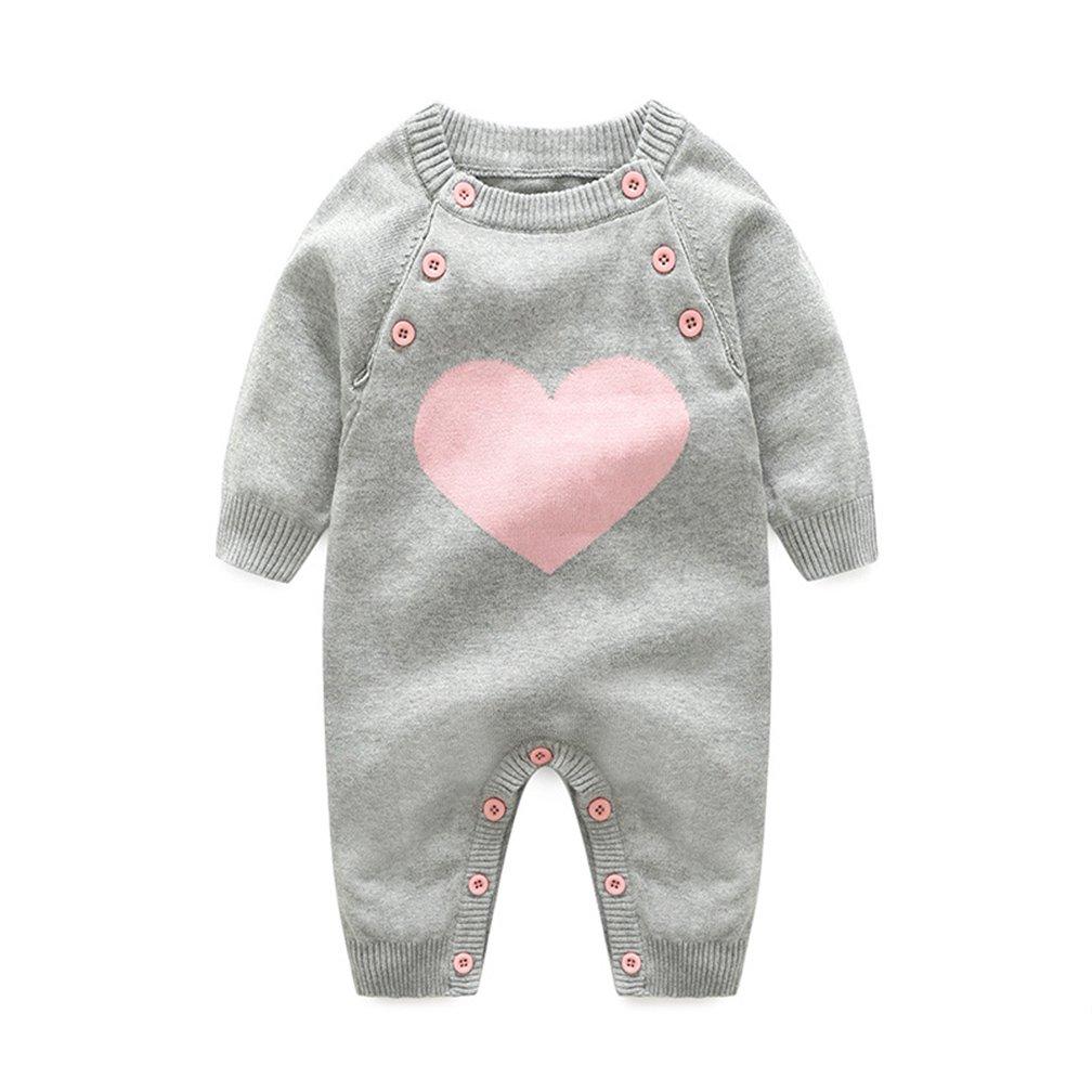 Bambino Ragazze Ragazzi Pagliaccetto a maglia Tuta Pigiama Playsuit Outfit Maniche lunghe