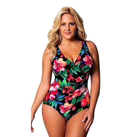 dcb5b216e8dcf Mysky Fashion Women Sexy Floral Print Swimsuit Beachwear Ladies Vintage  One-Piece Plus Size Swimwear at Amazon Women's Clothing store: