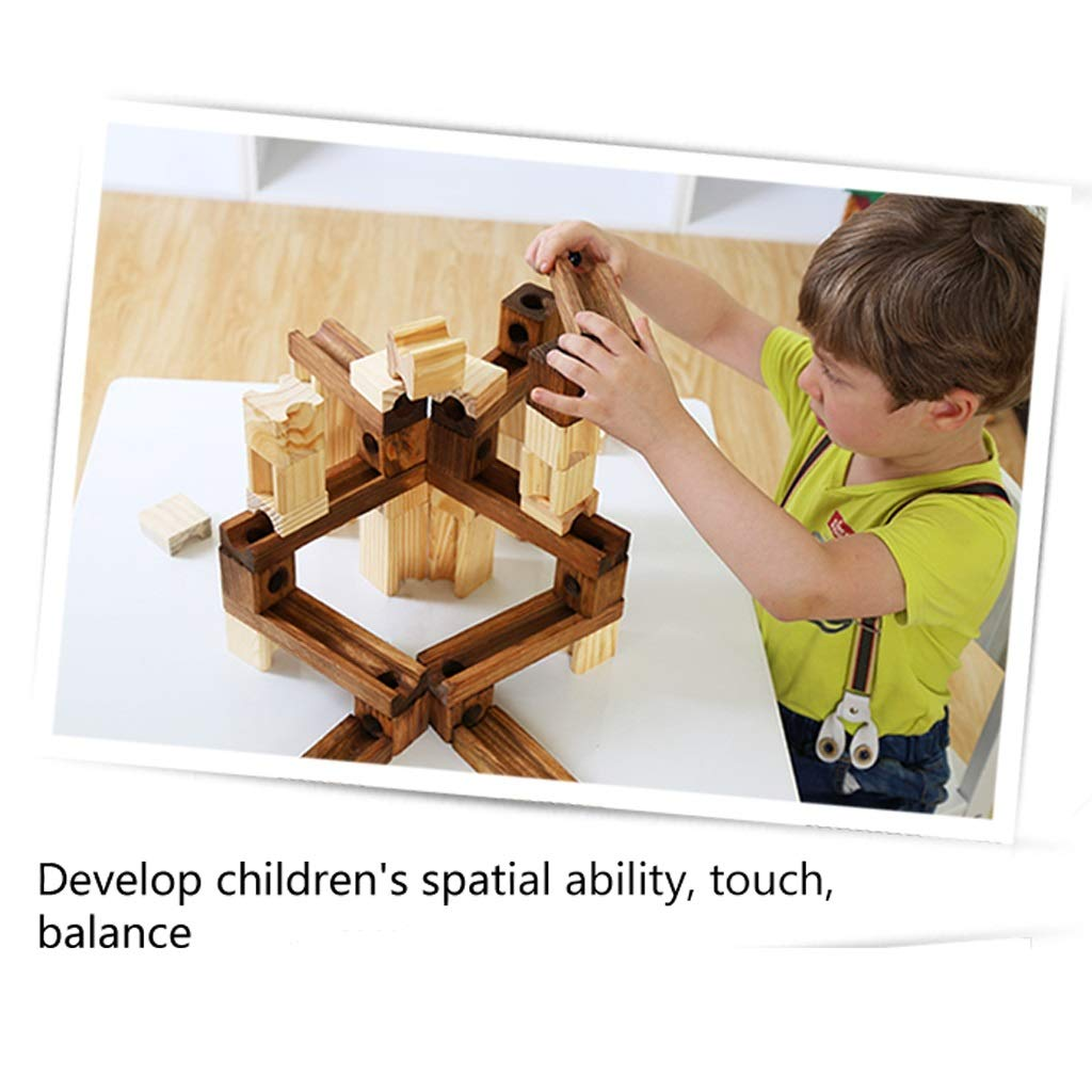 LIUFS-TOY Wooden Pipe Marbles Building Blocks Track to Large to Fight Ball Combination Early Education Toys (Size : 80 White+45 Wood+18Pinball) by LIUFS-TOY (Image #6)