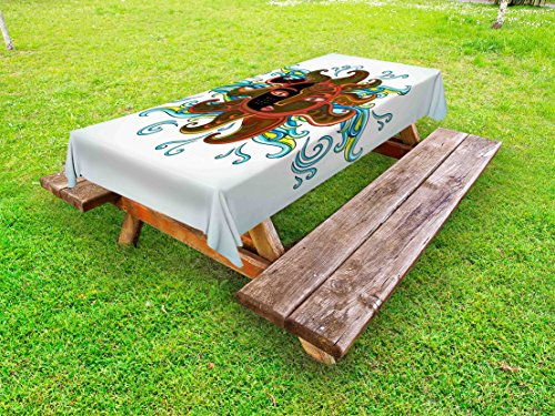 Lunarable Aztec Outdoor Tablecloth, Ethnic Sun Figure with Face and Curly Rays Abstract Artistic Morning, Decorative Washable Picnic Table Cloth, 58 X 84 Inches, Dark Orange Yellow Blue