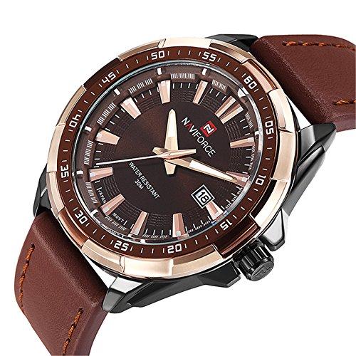 Misskt Men's Fashion Casual Sport Watches Men Waterproof Leather Quartz Watch