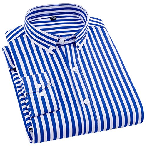 Sweattang New Mens Luxury Casual Business Formal Striped Button Down Dress Shirts (Blue-8108, XXL) ()