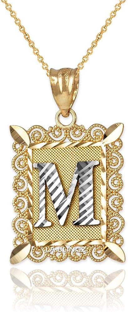 LA BLINGZ 10K Yellow Gold Filigree Alphabet Initial Letter M DC Pendant Necklace