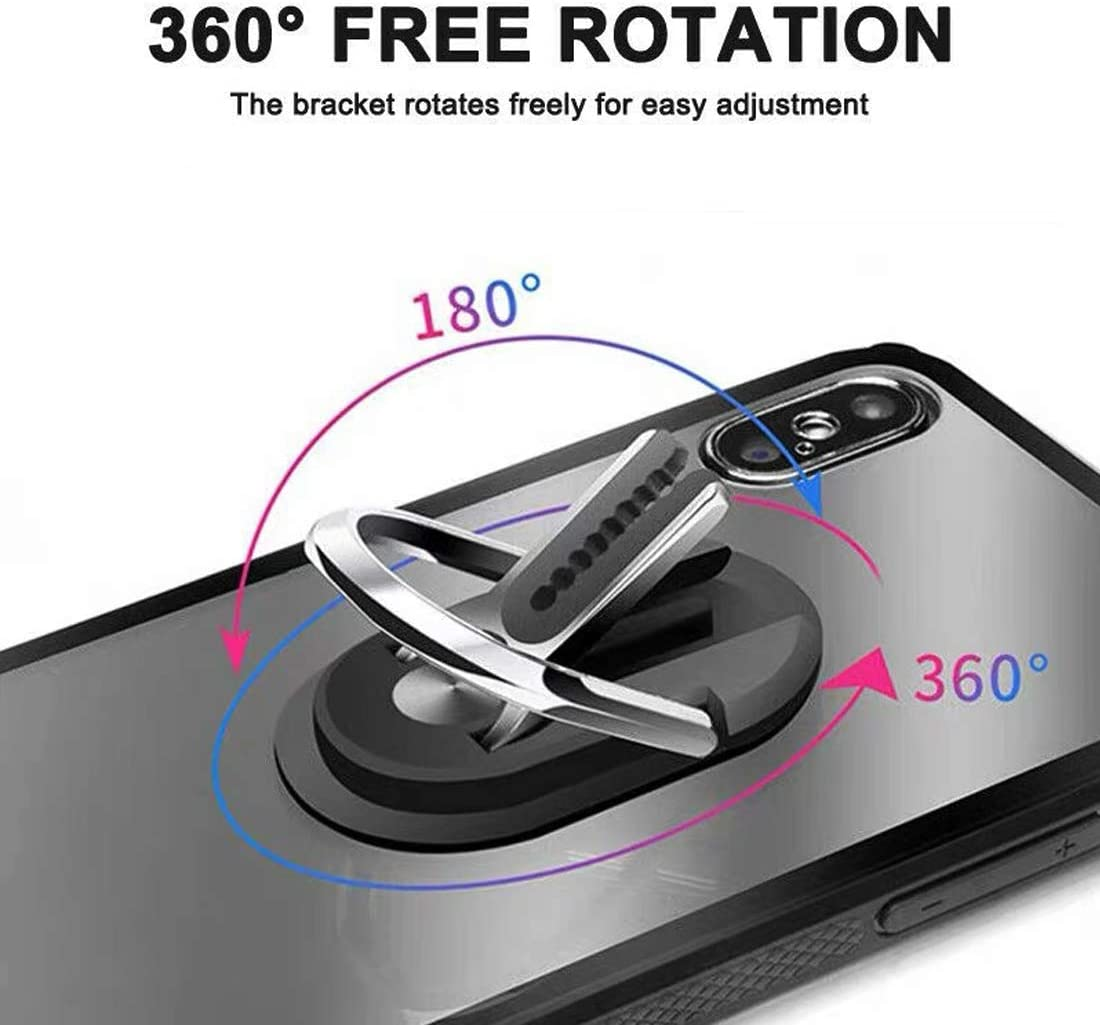 Phone Ring Holder Two in One Cell Phone Bracket Holder Stand 360 Degree Rotation for Car Phone Mount Black Multifunction Phone Bracket