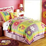 Norson Luxury Embroidered Patch Floral Patchwork Quilt Kids Bedding Girls Bedspread Set Children's Quilt Sets Twin / Queen (Queen)