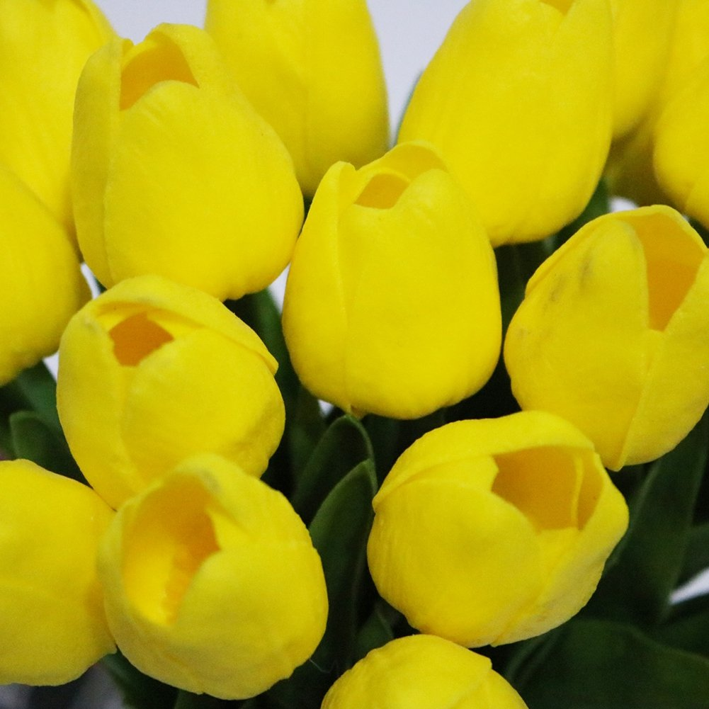 Adarl 10pcs Artificial Flower Artificial Tulip Flower Silk Floral for Home Office Decor Party Festival Weeding Decoration Light Yellow