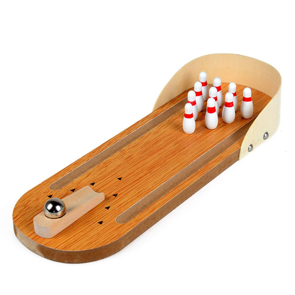 SHENGHUAJIE Mini Wooden Bowling Toy Table Game Kids Toy by SHENGHUAJIE