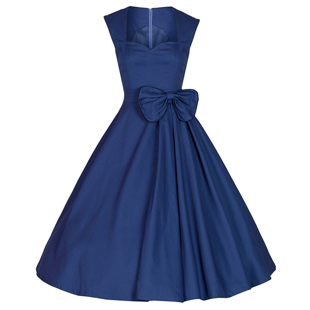 YUSSTAR Women's Vintage Swing Cocktail Party Sleeveless Dress (XX-Large, Blue) by YUSSTAR (Image #1)