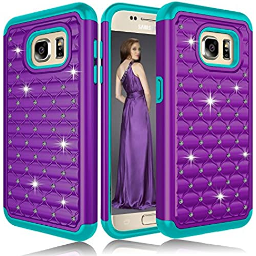 Galaxy S7 Case, ZENIC(TM) Hybrid Armor Dual Layer Studded Diamond Bling Protective Case Cover for Galaxy S7 All Carriers (Purple/Teal) Sales