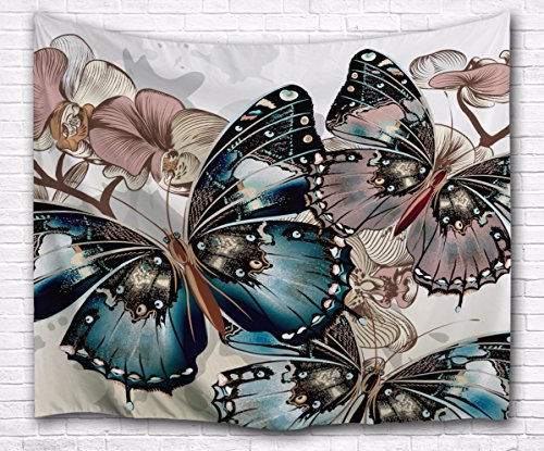 - A.Monamour Vintage Floral Butterfly Art Print Textile Fabric Mural Tapestry Wall Hangings Decorations for Bedroom Dorm Dividers Curtains 153x102cm/60