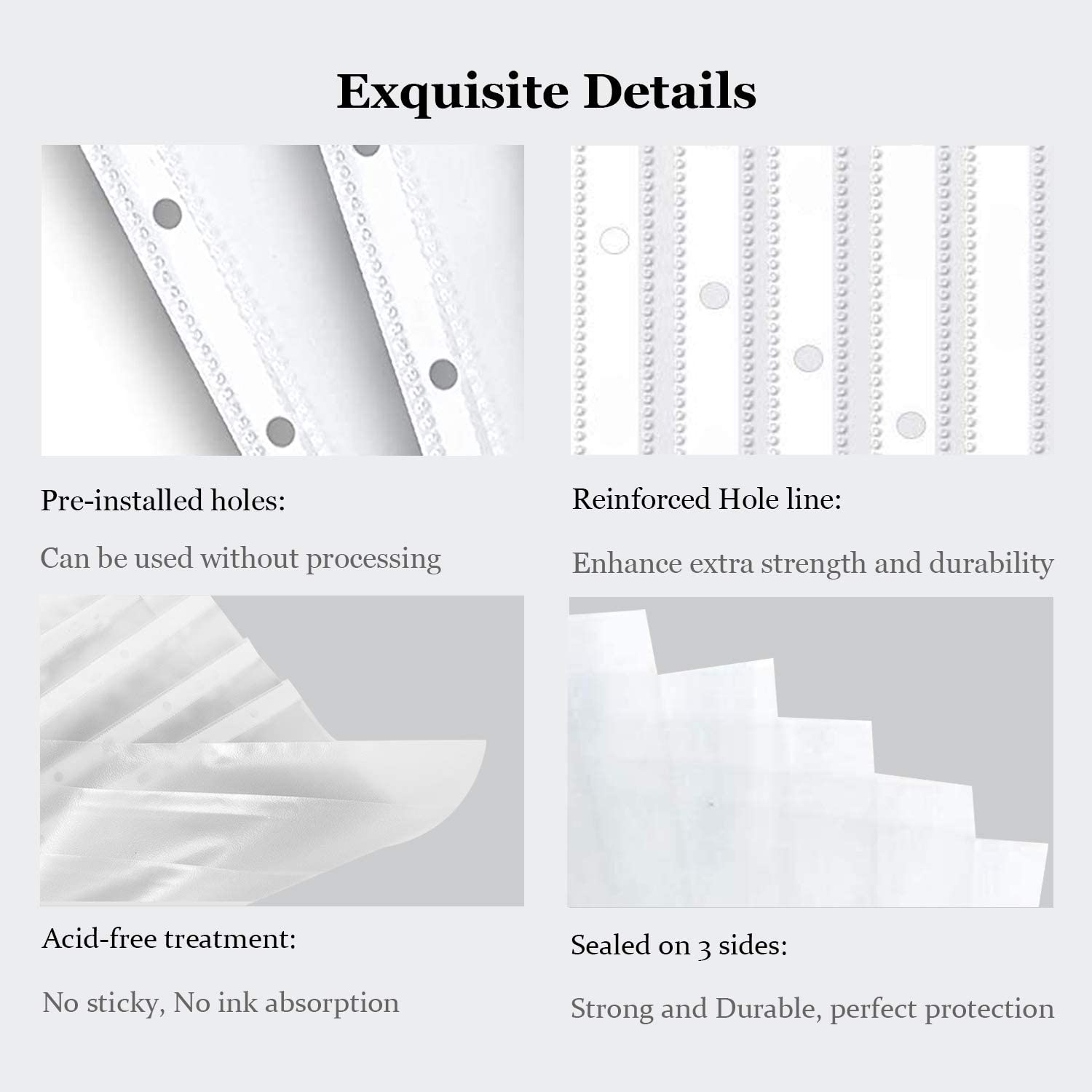 Letter Size Plastic Sleeves for Binders Teskyer 50 Pack Clear Page Protectors for 3 Ring Binder Sheet Protectors 8.5 x 11 Inches