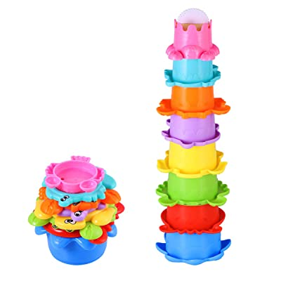 Tomaibaby 8PCS Bath Stacking Cups, Colorful Plastic Bath Stacking Cups Toys Stackable Rainbow Nesting Block Set for Kids (Random Color): Toys & Games