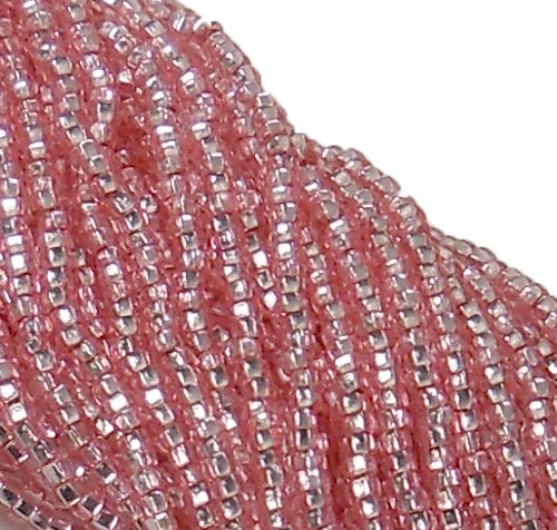 (Czech 11/0 Glass Seed Beads (4)(6 String Hanks) Which Is 24 18 Strands Preciosa Jablonex (Silver Lined Pink Sol-gel))