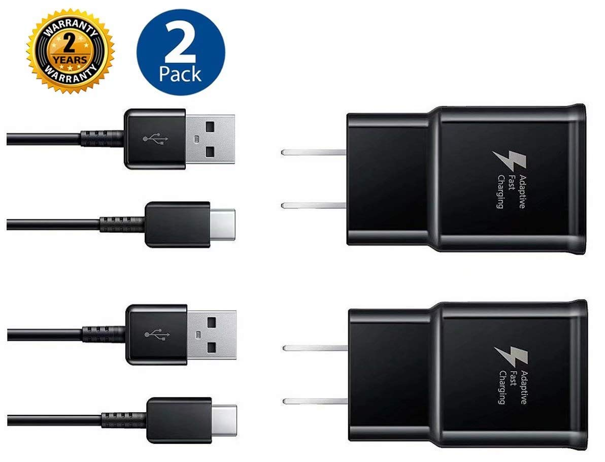 Adaptive Fast Charger Kit,LaoFas Quick Charge USB Wall Charger for Samsung Galaxy S10/S9/S8/S8 Plus/Note8/9{2 Type-C Cables + 2 Wall Chargers}Charge up to 50% Faster (Black)