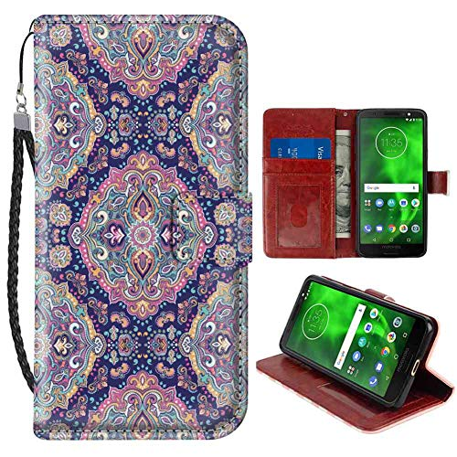 Wristlet Wallet Case Compatible for Motorola Moto G6 Plus [5.93 Inch] Ethnic Boho Style Mandala Figures Festive Colorful Spring Garden Themed Old Fashioned Tile Multicolor Folio Case