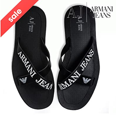 fb64faed541f BNWT EA7 Emporio Armani Flip Flops Open Toes Eagle Logo Mules Slippers  Sandals Beach Shoes (