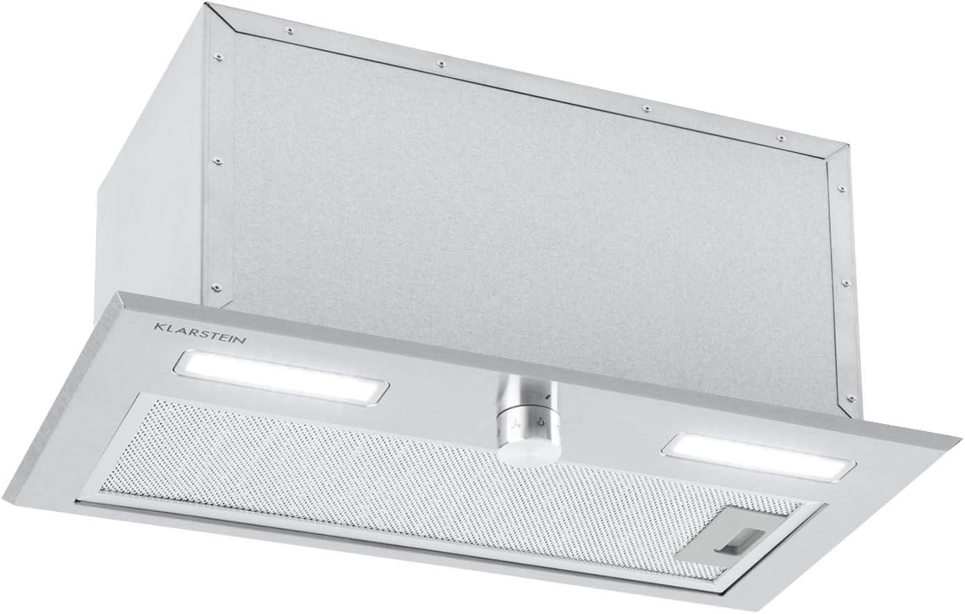Klarstein Simplica 52 campana extractora - 52 cm de ancho, extracción de 400 m³/h, función de ventilación, botón giratorio, 3 niveles, iluminación LED de 1,5 W, acero inoxidable