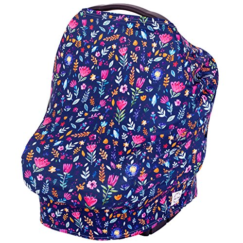 Nursing Cover, Breastfeeding Scarf, Carseat Canopy, High Chair, Shopping Cart, Stroller Baby Car Seat Covers for Boys and Girls, Stretchy Multi Use Infinity Scarf and Shawl - Kidz Pride Navy Floral