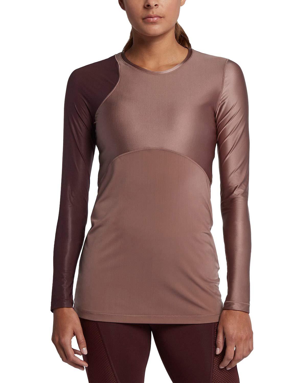 TALLA XS. Nike Pro Hypercool Camiseta Cuello Redondo Manga Larga Elastano, Nylon - Camisas y Camisetas (Camiseta, Adulto, Femenino, Borgoña, Monótono, XS)