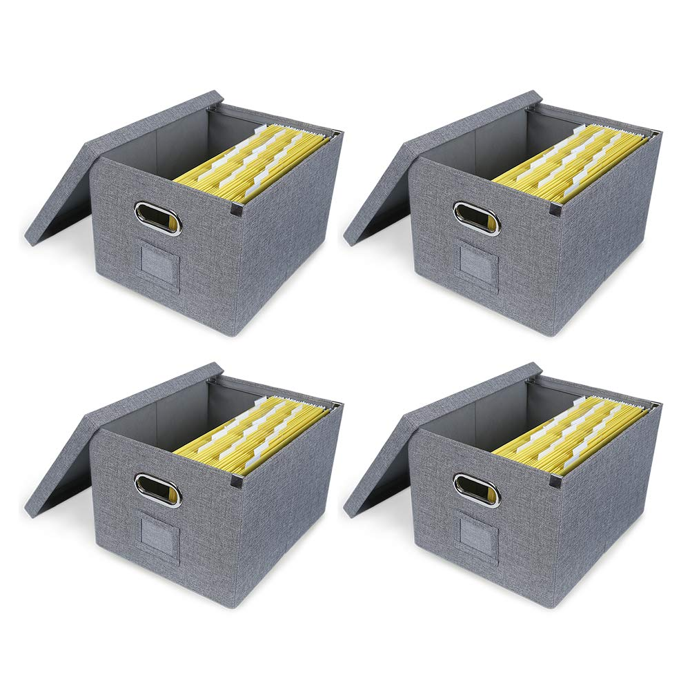 ATBAY File Storage Box Collapsible Large Capacity Office File Organizer for Letter/Legal Size Hanging File Folder Box, Gray 4Pack by ATBAY