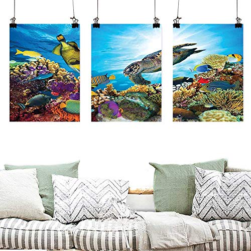 Agoza Canvas Wall Art Ocean Colorful Fishes Hawksbill Floats Under Water Coral Reefs Aquatic Environment Theme Easy Care Oil Painting 3 Panels 24x35inchx3pcs Multicolor