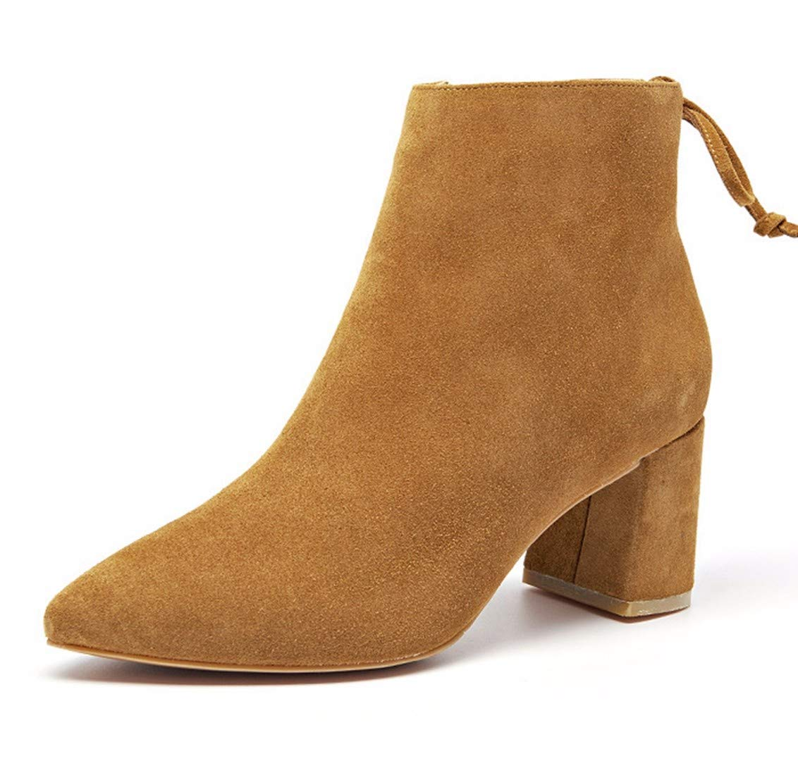 BeatinToes Damen Winter Warm Anti Slip Wasserdicht Leder Schuhe Mit Hohen Absätzen Reine Farbe Casual Schuhe Stiefel Heel Kurzschluss