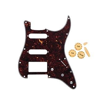 Guarda para guitarra estilo Stratocaster Fleor SSH con perillas de control de volumen y tono 2T1V