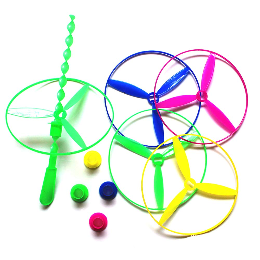 Dragonfly Toy Plastic Twisty Flying Saucers Spinning Shooter Flying Disc Toys for Children 5PCS (Random Color) Ruiting