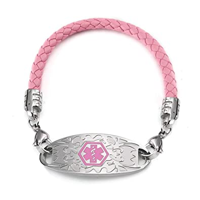 Amazon com: BBX JEWELRY Pink Bolo Leather Medical Alert ID