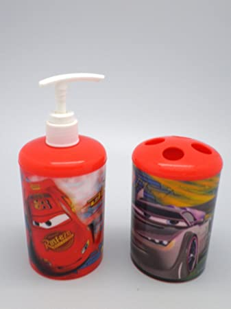 Red Disney Cars Soap Dispenser And Toothbrush Holder Bath Set Awesome Design