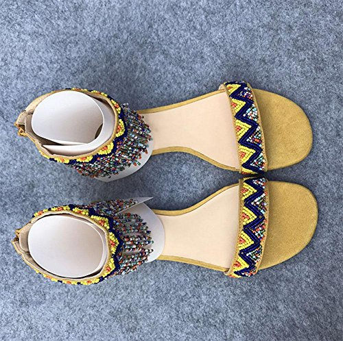 Wulstige wilde flache Schuhe Sandalen Frauen yellow