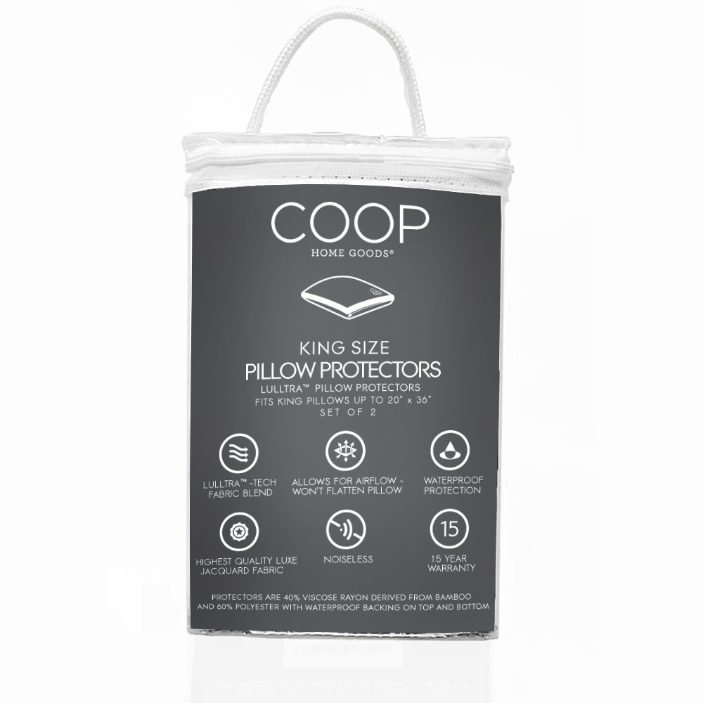 Coop Home Goods - Lulltra Hypoallergenic Zippered Pillow Protectors - 2 Pack - Machine Washable - 15 Year Warranty (King)