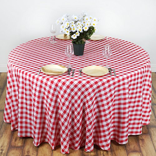 BalsaCircle 70 inch Gingham Checkered Polyester Tablecloth - Red and White