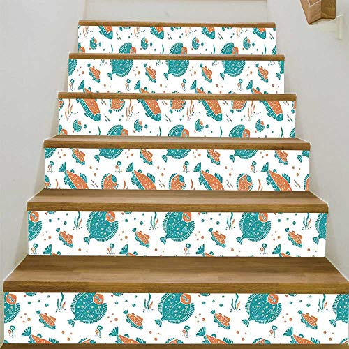 ALUONI Underwater Stair Tread Stickers,Flounder and Trout Naive Lino Style Algae Underwater Marine Ocean Sea Pattern for Stairs Decal,39.3