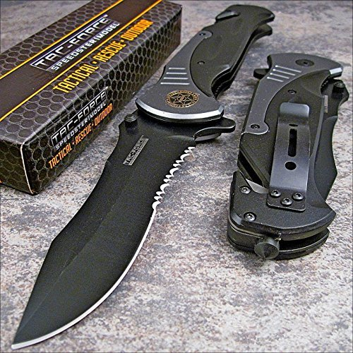 "Tac-force Extra Large Grey 10.5"" Folding Blade Spring Assisted Open Pocket Knife"